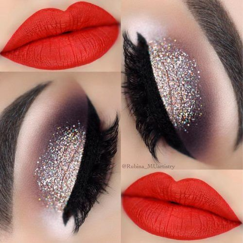 Glitter Smokey With Red Lipstick Makeup #redlipstick