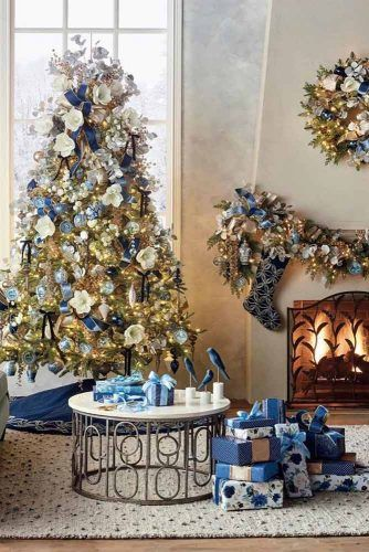 Christmas Tree Decorations In White And Blue Colors #blueornaments