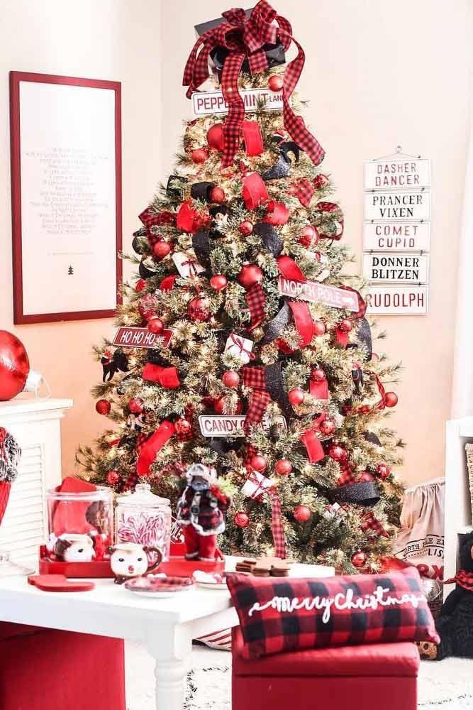 Christmas Tree Decorations In Plaid Pattern #plaid #blackred