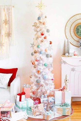 White Christmas Tree With Colorful ornaments #colorfuldecorations