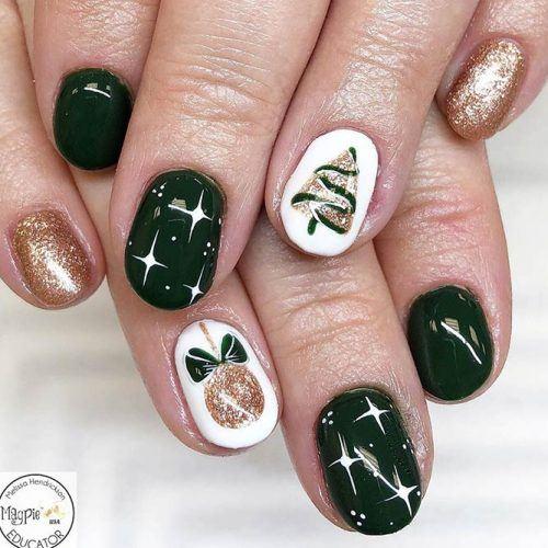 Christmas Stars Nail Art Design #christmas #diystars