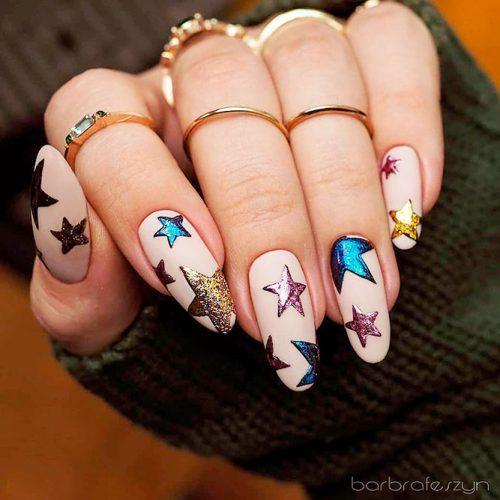 Colorful Gitter Stars Nail Art #colorfulnails #brightnails