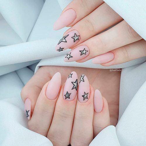 Matte Nude Nails With Glitter Stars #mattenails #almondnails