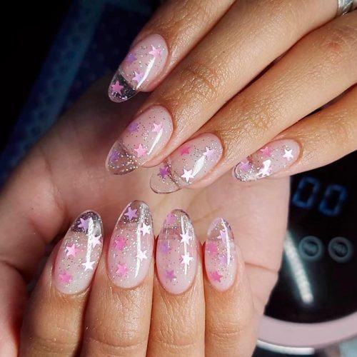 Pink Glitter Nail Art #pinknails #almondnails