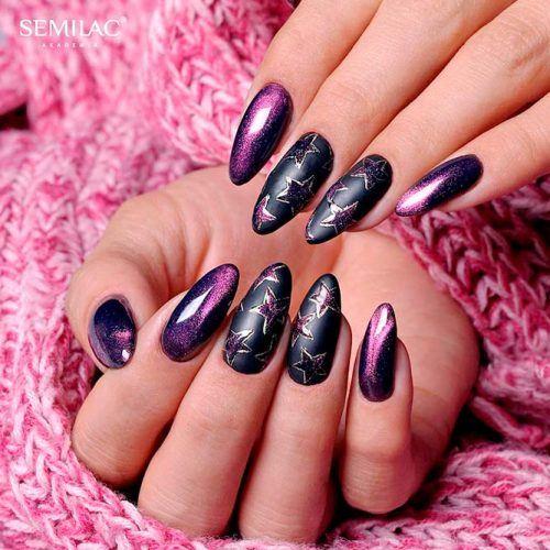 Cat Eye Nail Art With Stars #cateyenails #purplenails