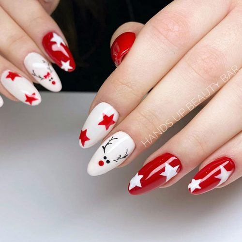 Red And White Christmas Nails #rednails #christmasnails