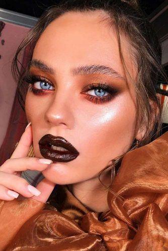 Gold Smokey With Dark Brown Lipstick #goldsmokey #brownlips