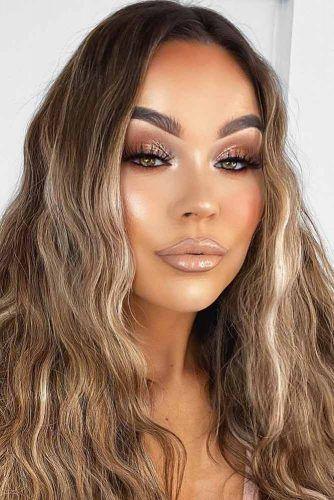 Glam Nude Makeup Idea #goldshadow