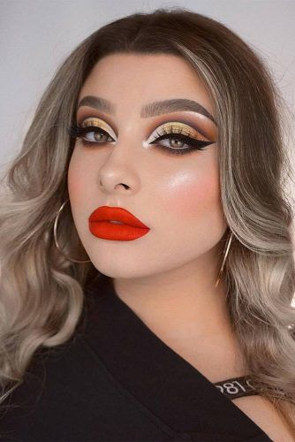Red Lipstick With Cut Crease Makeup #cutcrease