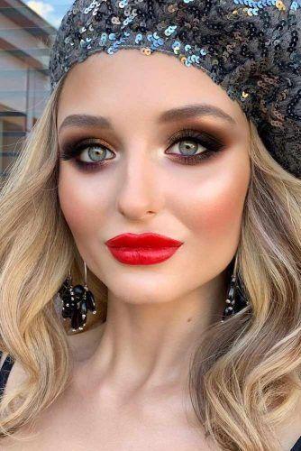 Dark Brown Smokey With Red Lips Winter Makeup #redlips