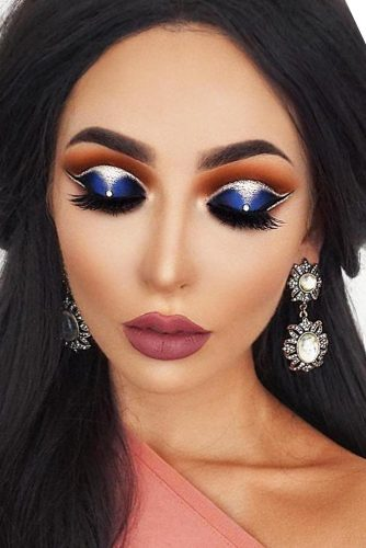 Deep Blue Eyeshadow With Silver Glitter Makeup Idea #mattelipstick