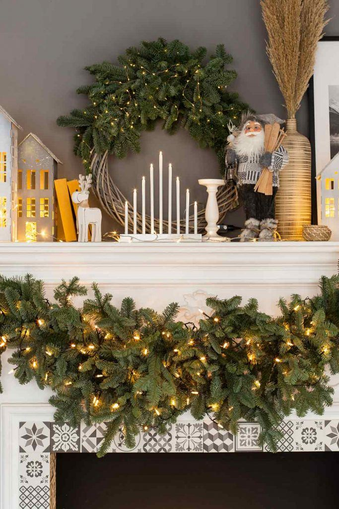 Christmas Fireplace Decoration with Garlands