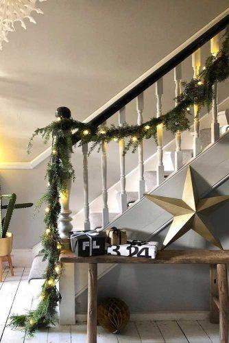 Christmas Garland With Lights #star #lights