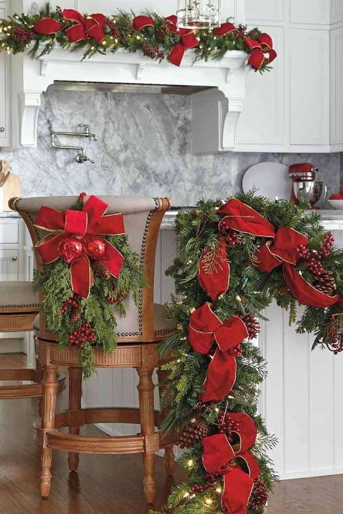 Christmas Garland With Red Ribbon #redcolors #christmasdecorations