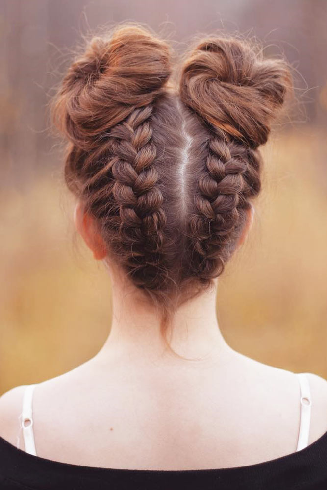 Cute Braided Space Bun Hairstyles Picture 3
