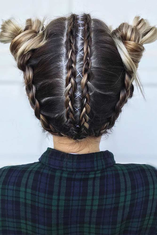 Cute Braided Space Bun Hairstyles Picture 1