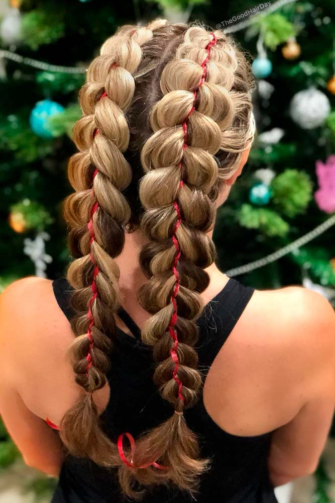 Double Dutch Braids With Ribbons #hairribons #doublebraids