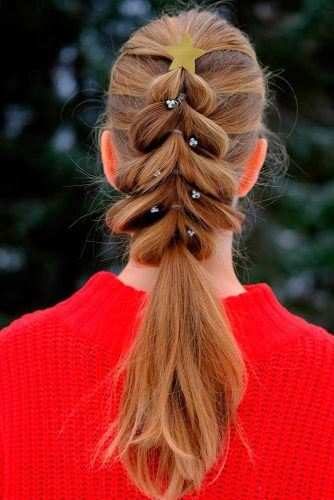 Christmas Tree Braid #christmastreebraid #braidedponytail