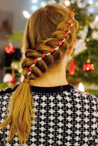 Side Braided Ponytail With Ribbon #sidebraid #ponytail