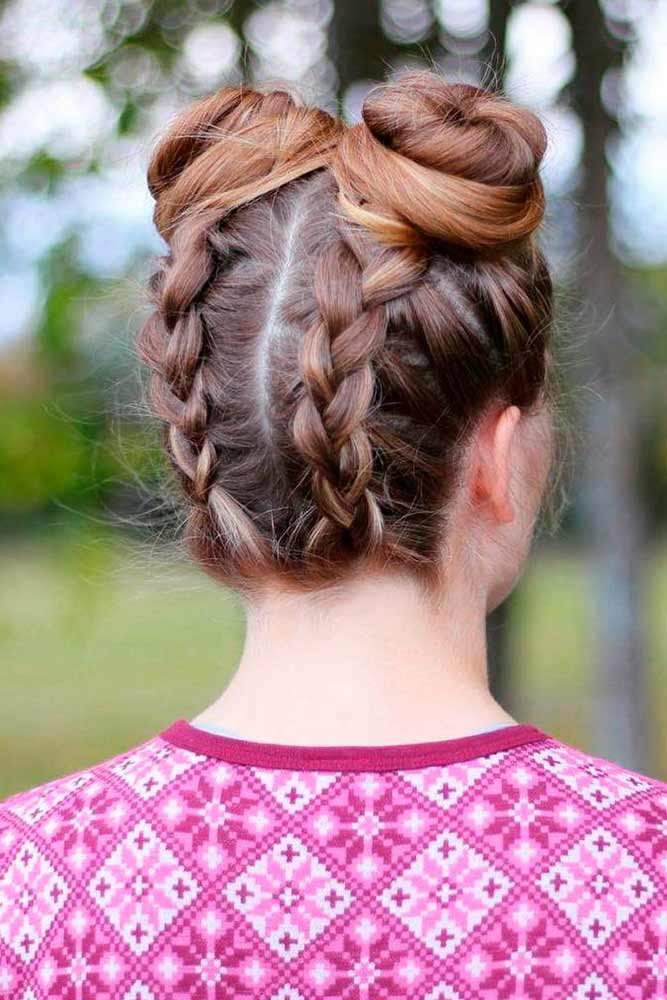 Braided Space Knots Hairstyle #spacebuns #spaceknots
