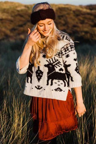Cozy Sweater With Deer Print #deerprint #printsweater