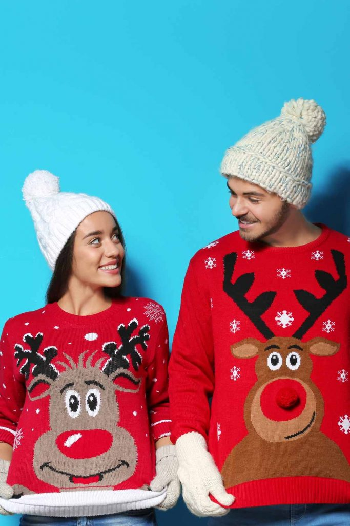 Cute Couple Christmas Sweaters with Deers