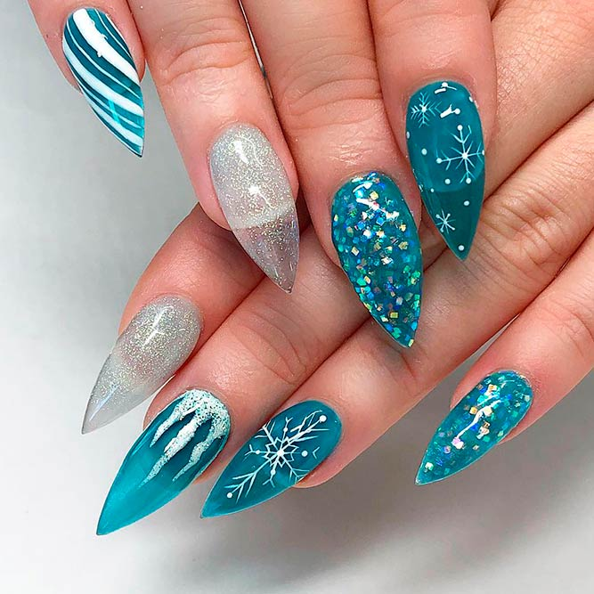 Frozen Transparent Nail Art #winternails