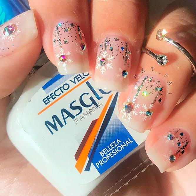 Easy Snowflakes Nail Art With Rhinestones #glitternails #easynails