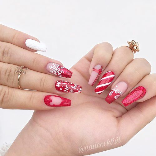 Festive Red Nail Design #rednails #christmasnails