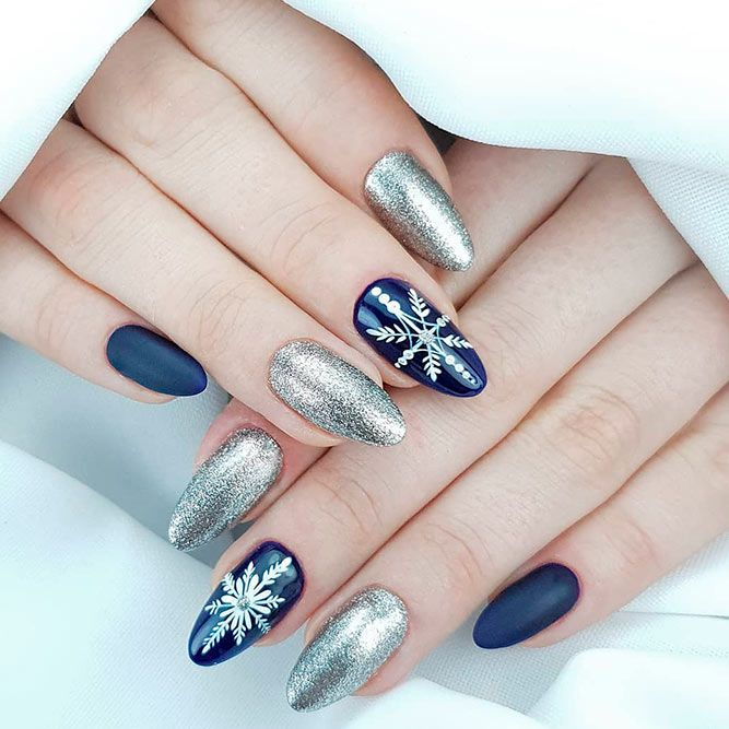 Silver And Blue Winter Nail Art #glitternails #bluenails