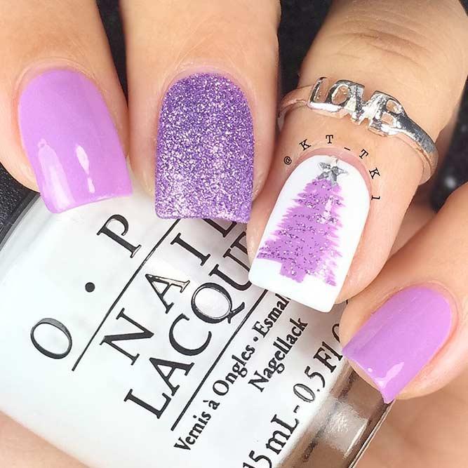 Sparkly Purple Christmas Tree Nails #winternails #glitternails