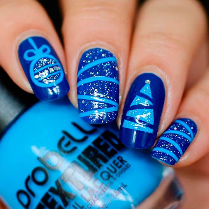 Striped Christmas Tree In blue Shades #winternails #glitternails
