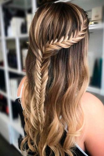 Fishtail Braided Half Up #braidedhairstyles #longhairstyles