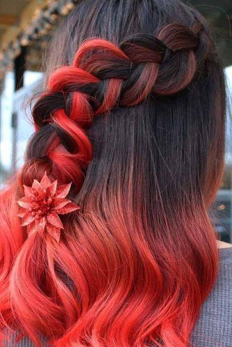 Creative Half Up For Christmas Look #ombrehair #redhair