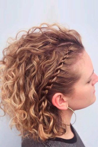 Curly Hair With Side Twisted Braid #curlyhair #twistedhairstyle