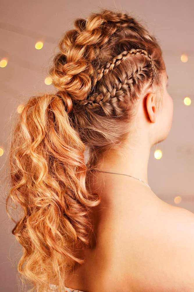 Voluminous Hairstyles With Braids And Curls #curlyhair #braidedhairstyles