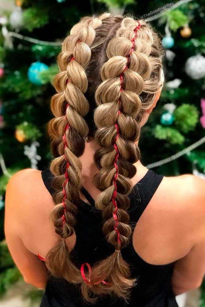 Romantic Double Braids With Ribbon #hairribbon #doublebraids
