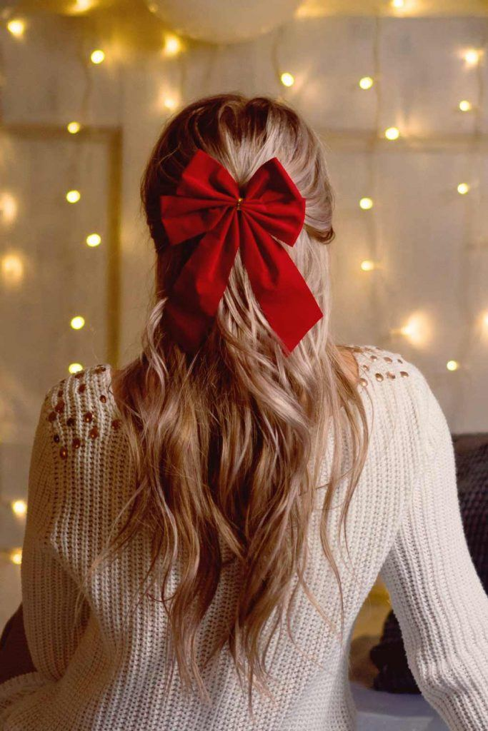 Half Up Half Down Hairstyle with Red Bow