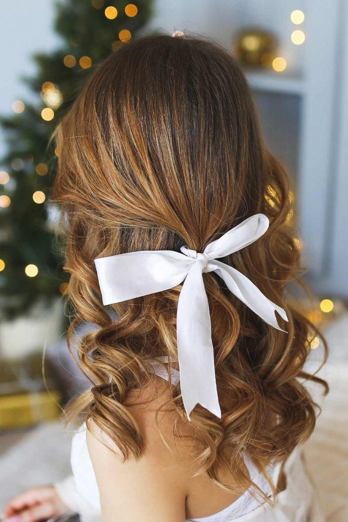 Half Up Half Down Hairstyle with Bow