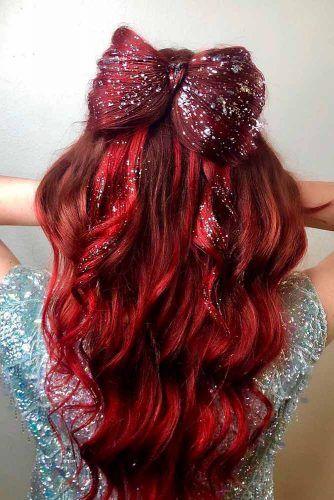 Sparkly Hair Bow For Christmas Party #sparklyhair #hairbow