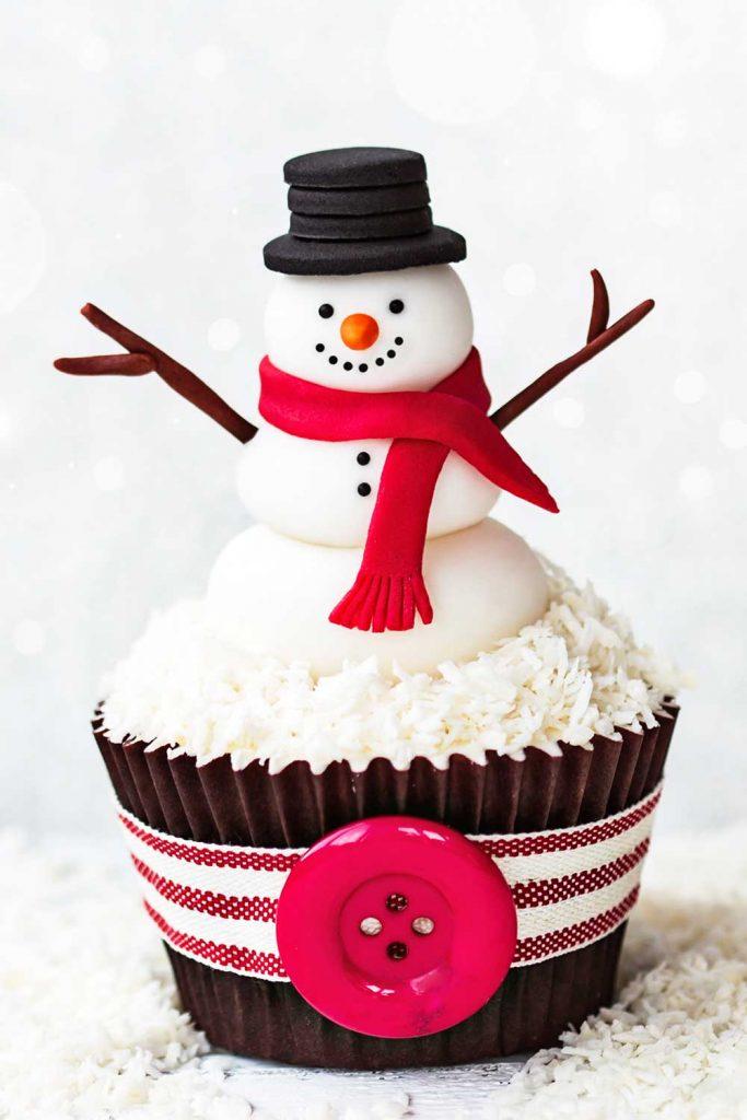 Christmas Cupcake with Snowman
