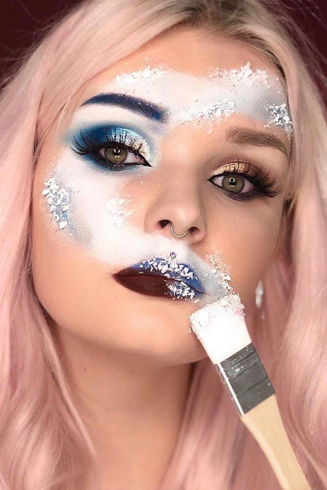 Snow Art For Christmas Makeup #christmasmakeup