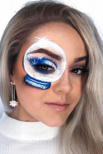 Snowglobe Christmas Fairy Makeup #snowglobefaceart