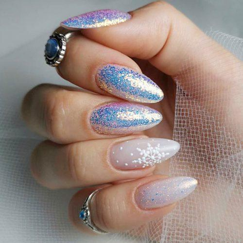 Holographic Frozen Nails Design #holonails #holographicnails