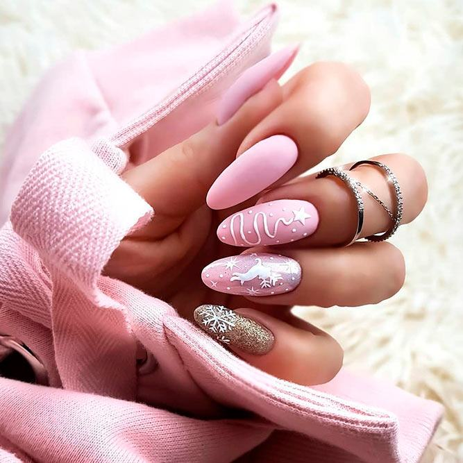 Pink Nail Design For Christmas #pinknails #winternails