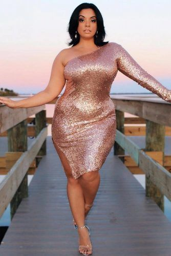 Assymetric Sequin Plus Size Dress #plussize #rosegolddress