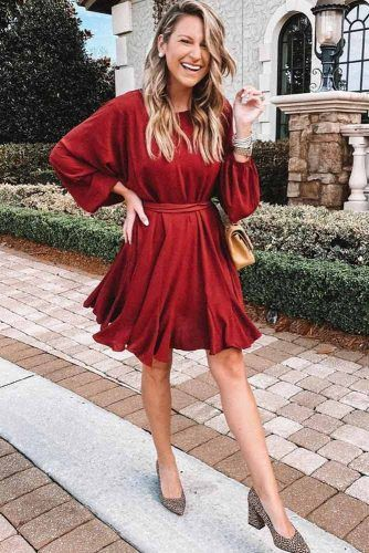 Ruffled Dark Red Dress #darkreddress #longsleeves