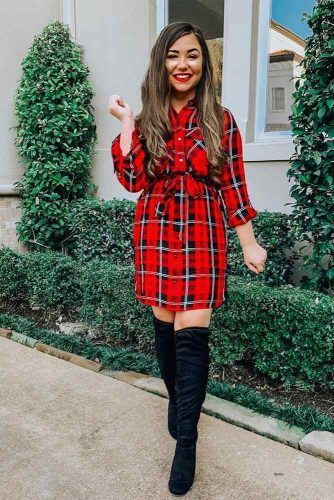 Red Plaid Dress Design #plaiddress