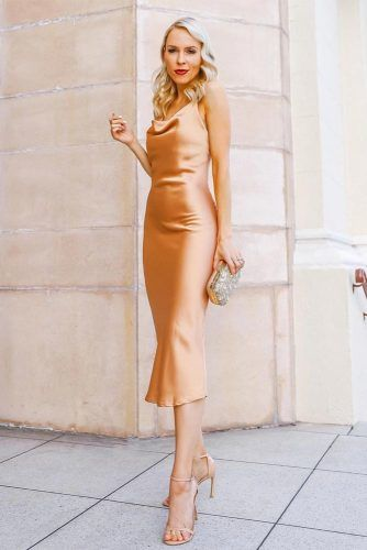 Midi Gold Simple Dress Design #golddress