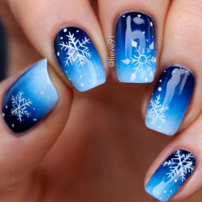Blue Ombre Nails With Snowflakes #winternails #ombrenails